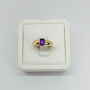 Real 14k Solid Women's Ring Purple CZ 7.25